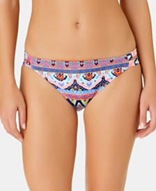 California Waves Juniors' Far Away Vacay Printed Tab Side Hipster Bottoms, Created for Macy's