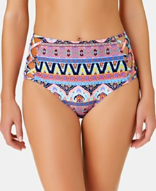 California Waves Juniors' Far Away Vacay Printed Strappy High Waist Bottoms, Created for Macy's
