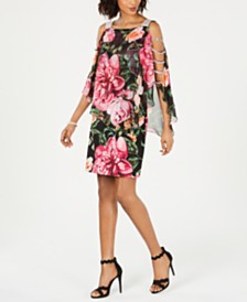 MSK Embellished Floral-Print Sheath Dress