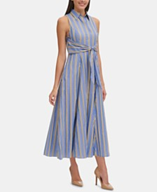 Tommy Hilfiger Striped Tie-Front Maxi Shirtdress
