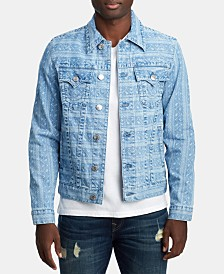 True Religion Men's Ikat-Print Trucker Jacket