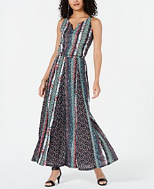 Printed Split-Neck Sleeveless Maxi Dress, Created for Macy's