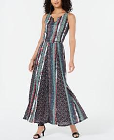 8a2e9201a Style & Co Printed Split-Neck Sleeveless Maxi Dress, Created for Macy's
