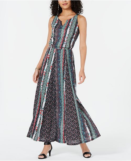Style & Co Printed Split-Neck Sleeveless Maxi Dress, Created for Macy's