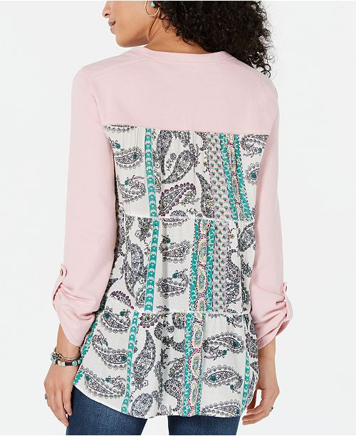 Style & Co Printed Tiered-Back Top, Created for Macy's