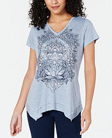 Style & Co Metallic-Graphic Handkerchief-Hem Top, Created for Macy's