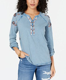 Style & Co Embroidered Cotton Henley Top, Created for Macy's