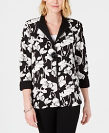 JM Collection Petite Floral-Print Jacket, Created for Macy's