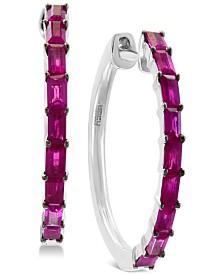EFFY® Certified Ruby (1 ct. t.w.) Hoop Earrings in 14k White Gold