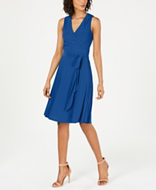 Jessica Howard Faux-Wrap Fit & Flare Dress