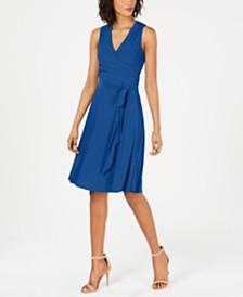 Jessica Howard Faux-Wrap Fit & Flare Dress