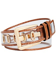 Michael Kors Clear Vinyl & Leather Grommet Belt