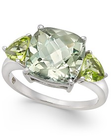 Mint Quartz (3-9/10 ct. t.w.) & Peridot (1-1/10 ct. t.w.) Statement Ring in Sterling Silver