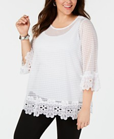 Alfani Plus Size Lace-Trim Tunic, Created for Macy's