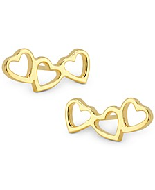Love Count Triple-Heart Stud Earrings in 14k Gold-Plate Over Sterling Silver