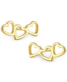 Sarah Chloe Love Count Triple-Heart Stud Earrings in 14k Gold-Plate Over Sterling Silver