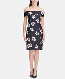 Tommy Hilfiger Floral-Print Off-The-Shoulder Sheath Dress