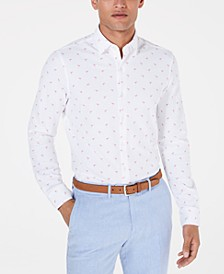 Men's Slim-Fit Stretch Flamingo Knit Dress Shirt, Created for Macy's