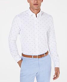 Men's Slim-Fit Stretch Flamingo Knit Dress Shirt, Created for Macy's