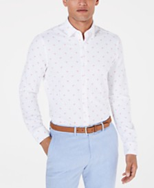 Bar III Men's Slim-Fit Stretch Flamingo Knit Dress Shirt, Created for Macy's