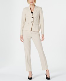 Le Suit Striped Two-Button Pantsuit