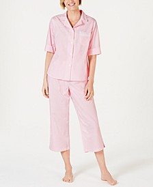 Stripe-Print Cotton Short-Sleeve Top and Cropped Pajama Pants Set