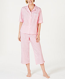 Miss Elaine Stripe-Print Cotton Short-Sleeve Top and Cropped Pajama Pants Set