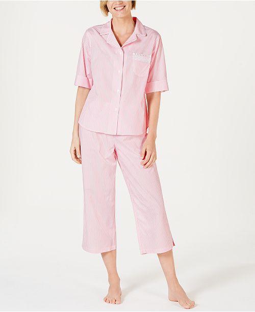 Miss Elaine Stripe-Print Cotton Short-Sleeve Top and Cropped Pajama Pants Set