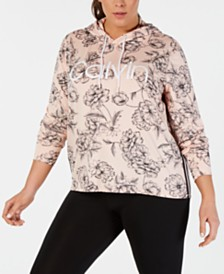 Calvin Klein Performance Plus Size Logo Printed Varsity-Stripe Hoodie