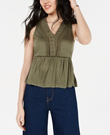 American Rag Juniors' Crochet-Trimmed Peplum Tank Top, Created for Macy's