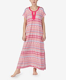 Printed Pom-Pom Trim Long Caftan