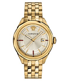 Versace Men's Swiss Glaze Gold-Tone Stainless Steel Bracelet Watch 43mm