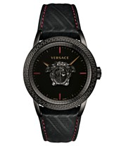 3f60dae172 Versace Men's Swiss Palazzo Empire Black Leather Strap Watch 43mm