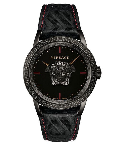 0f62a66b29 Versace Men's Swiss Palazzo Empire Black Leather Strap Watch 43mm ...