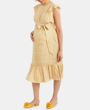 Vintage Maternity Clothing Styles 1910-1960 Motherhood Maternity Ruffled Dress $29.97 AT vintagedancer.com