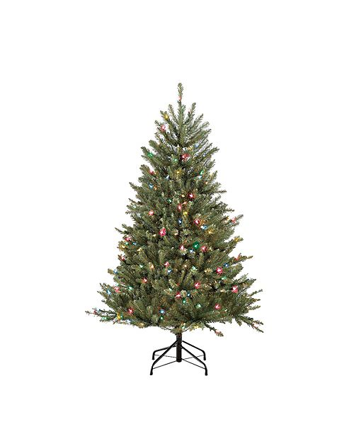 Puleo International 4.5 ft.Pre-Lit Franklin Fir Artificial Christmas Tree with 250 Multi-Colored UL listed Lights