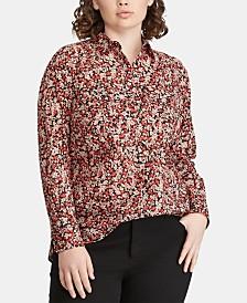 Lauren Ralph Lauren Plus Size Floral-Print Cotton Shirt