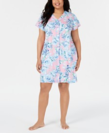 Miss Elaine Plus-Size Flower-Print Interlock-Knit Gripper Robe