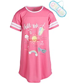 Max & Olivia Little & Big Girls Chill-Print Nightgown & Eye Shade