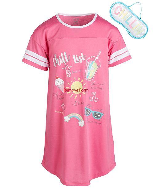 Max & Olivia Little & Big Girls Chill-Print Nightgown & Eye Shade