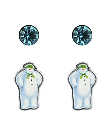 Snowman Cubic Zirconia Set of 2 Stud Earrings