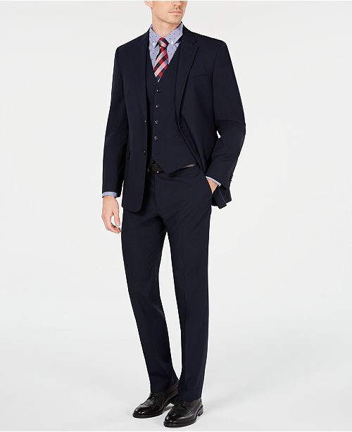 Tommy Hilfiger Men's Modern-Fit THFlex Stretch Navy Mini-Grid Vested Suit
