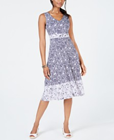 Charter Club Mixed-Print Sleeveless Midi Dress, Created for Macy's