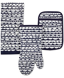kate spade new york Scallop Row Kitchen Towel, Oven Mitt & Potholder 3-Pc. Set