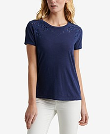 Cotton Embroidered Eyelet T-Shirt