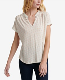 Lucky Brand Printed Split-Neck Top