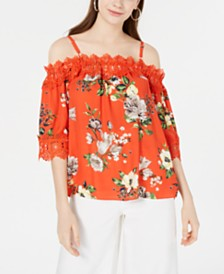 BCX Juniors' Printed Off-The-Shoulder Top