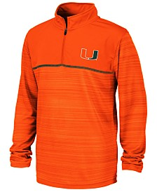 Colosseum Big Boys Miami Hurricanes Striped Mesh Quarter-Zip Pullover