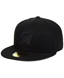New Era Miami Marlins Triple Black Custom 59FIFTY Fitted Cap