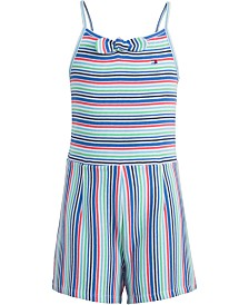 Tommy Hilfiger Toddler Girls Striped Ribbed Romper